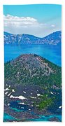 Wizard Island From Watchman Overlook In Crater Lake National Park-oregon  Beach Towel