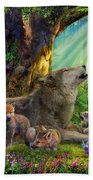 Wolf And Cubs In The Woods Beach Towel