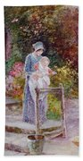 Woman And Child In A Cottage Garden Beach Towel