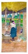 Woman Beating Cassava Jamaica Beach Towel