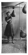 Woman Boxing Workout Beach Towel by Underwood Archives