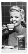 Woman Drinking Nescafe Beach Towel by Underwood Archives