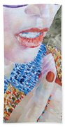 Woman Eating Marshmallow- Oil Portrait Beach Towel