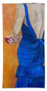 Woman In Blue Beach Towel