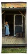 Woman In Cabin Doorway Beach Towel