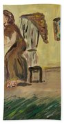 Woman In The Art Gallery Beach Towel