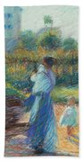 Woman In The Garden Beach Towel