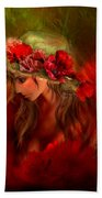 Woman In The Poppy Hat Beach Towel