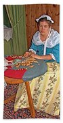 Woman Making Lace In Louisbourg Living History Museum-1744-ns Beach Towel