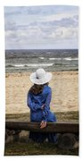 Woman On A Bench Beach Towel