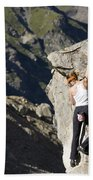 Woman Rock Climbing, India Beach Towel