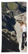 Woman Rock Climbing, India Beach Sheet