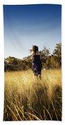 Woman Running Through Field Beach Towel