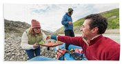 Woman Serving Appetizers, Alsek River Beach Towel