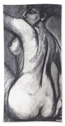 Woman Turning Her Back - Female Nude Beach Towel
