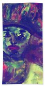 Woman With A Hat Beach Towel