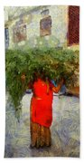 Woman With Ker Leaves India Rajasthan Jaisalmer Beach Towel