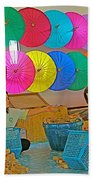 Women Working Together At Borsang Umbrella And Paper Factory In Chiang Mai-thailand Beach Towel