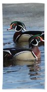 Wood Duck Drake Pair Beach Towel