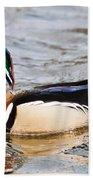 Wood Duck Profile Beach Towel