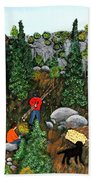 Woodcutters And Black Lab Beach Towel
