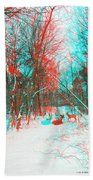 Wooded Path - Use Red And Cyan Filtered 3d Glasses Beach Towel