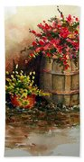 Wooden Barrel With Flowers Beach Towel