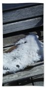 Wooden Bench With Snow 1 Beach Towel