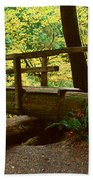 Wooden Bridge In The Hoh Rainforest Beach Towel