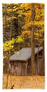 Wooden Cabin In Autumn Beach Towel