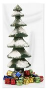 Wooden Christmas Tree With Gifts Beach Towel