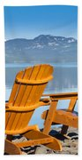 Wooden Deckchairs Overlooking Scenic Lake Laberge Beach Towel