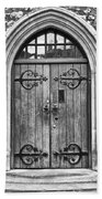 Wooden Door At Tower Hill Bw Beach Towel by Christi Kraft