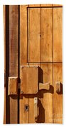 Wooden Door Detail Beach Towel by Carlos Caetano