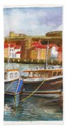 Wooden Fishing Boats In The Whitby Fleet Of Northern England Beach Towel