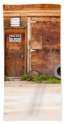 Wooden Gate Of Rural Timber Building Closed Sign Beach Towel