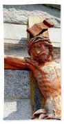 Wooden Jesus Beach Towel