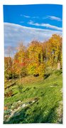 Wooden Lodge In Autumn Mountain Nature Beach Towel