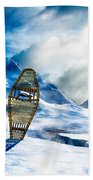 Wooden Snowshoes  Beach Towel