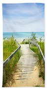 Wooden Walkway Over Dunes At Beach Beach Towel