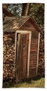 Woodpile And Shed Beach Towel