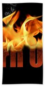 Word Burn Out In Fire Text Art Prints Beach Towel