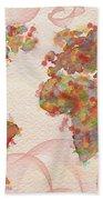 Word Map Digital Art Beach Towel