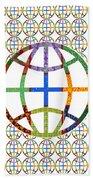 World Globe Earth Travel Graphic Digital Colorful Pattern Signature Art  Navinjoshi Artist Created I Beach Towel