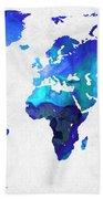 World Map 17 - Blue Art By Sharon Cummings Beach Towel by Sharon Cummings