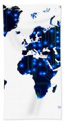 World Map In Blue Lights Beach Towel