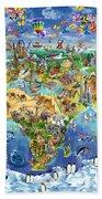 World Map Of World Wonders Beach Towel