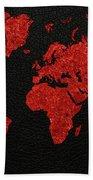 World Map Red Fabric On Dark Leather Beach Towel