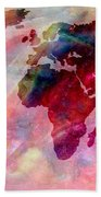 World Map Splash Of Color Beach Towel
