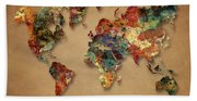 World Map Watercolor Painting 1 Beach Towel